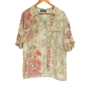 Carole Little Green Lace Button Up Rayon Blouse